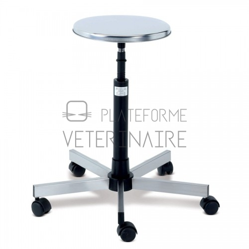 TABOURET A VIS ASSISE INOX PIETEMENT INOX 5 BRANCHES A/ROUES