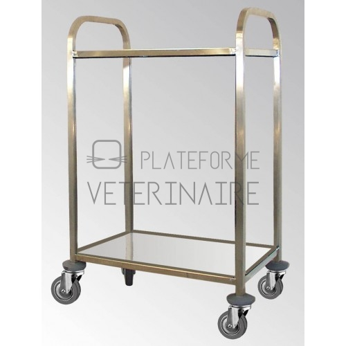 CHARIOT INOX 2 PLATEAUX 75 X 50 CM REF 000137 COMPLET