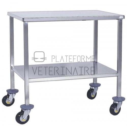 TABLE INSTRUMENTS 2 PLATEAUX INOX 120X60CM ROULETTES