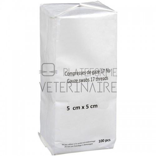 COMPRESSE HYDROPHILE 17 FILS 8 PLIS 5 X 5 CM (X 100)