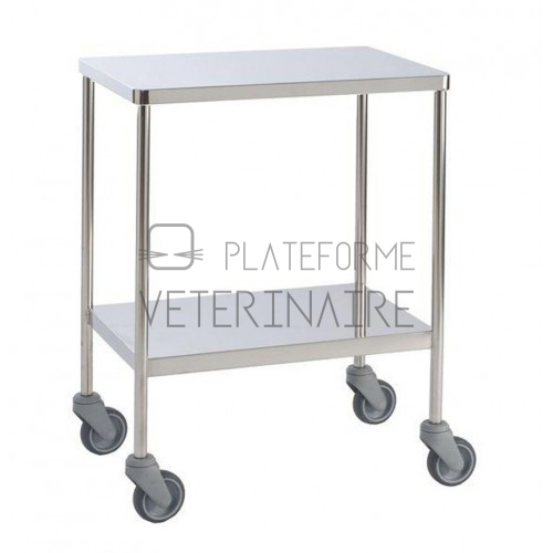 TABLE A INSTRUMENTS FIXE INOX 2 PLATEAUX 60 X 40CM